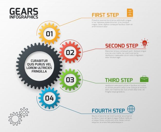 Cogs gearing process planning, timeline and engineering infochart with options presentation template