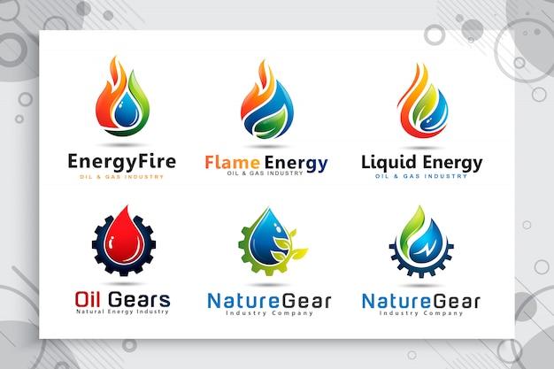 Установите собрание логотипа падения воды с концепцией шестерней cogs для символа нефтегазовой компании.