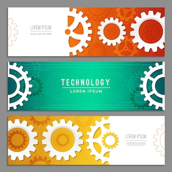 Cogwheels banners. abstract background with gears machinery industry parts vector header templates. illustration cogwheel mechanical industrial and engineering banner