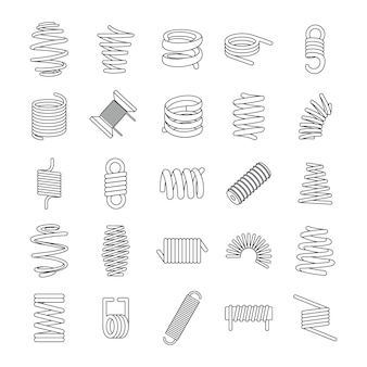 Coil spring cable icons set