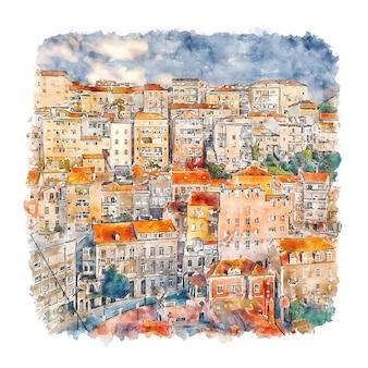 Коимбра португалия акварельный эскиз рисованной иллюстрации