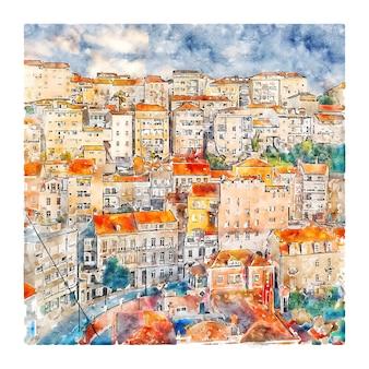 코임브라 포르투갈 수채화 스케치 손으로 그린 그림