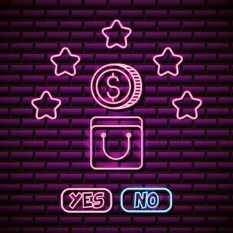 ネオンスタイルのコインと星のデザイン、ビデオゲーム関連