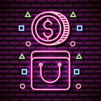 Coin and bag in neon style, video games related
