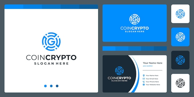 Coin crypto logo template with initial letter g. digital money icon vector, block chain, financial symbol.