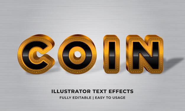 Монета - золотой металлик 3d текстовый эффект