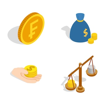 Coin icon set on white background