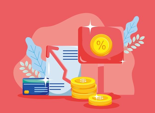 배너 문서 및 신용 카드의 동전