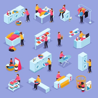 Coin laundry self service room customers equipment process isometric icons set with washing machines dryers