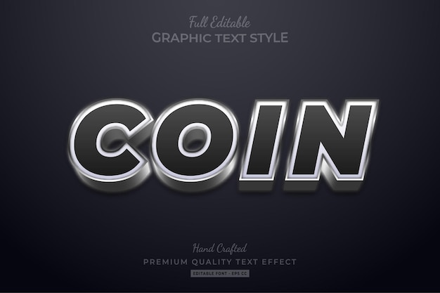 Coin silver black editable text effect font style