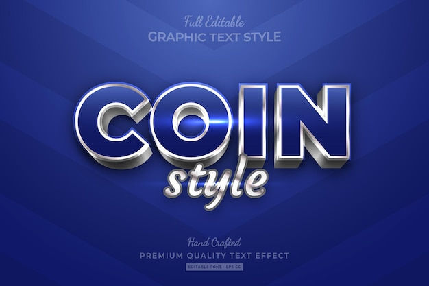 Coin silver blue style editable premium text effect