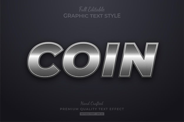 Coin silver elegant editable text effect font style