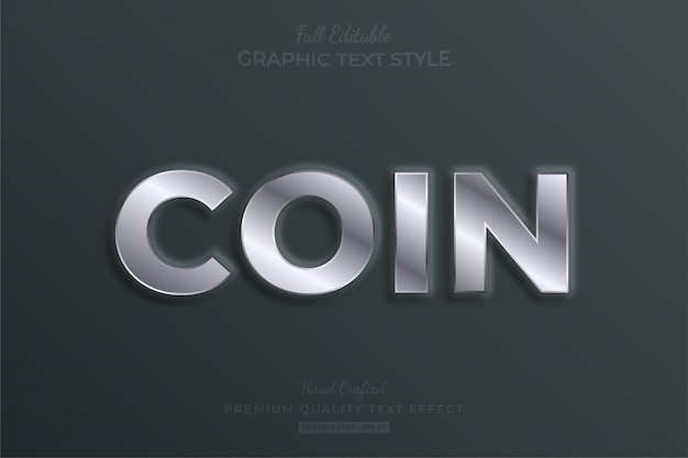 Coin silver embossed editable text effect font style