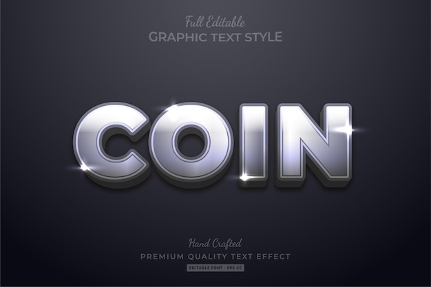 Coin silver glow editable text effect