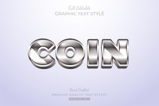 Coin silver shine editable premium text effect