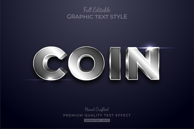 Coin silver shining editable text effect font style