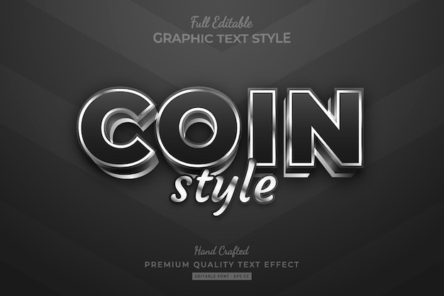 Coin silver style editable premium text effect font style