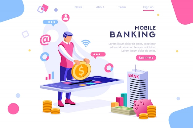 Coin on smartphone money banner