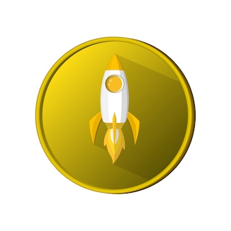 Coin space rocket launch model icon and flame. logo or banner