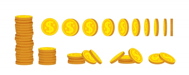 Coin stack cartoon set. gold coins pile heap, bank currency sign. hundreds cash bill. pennies turn around for animation