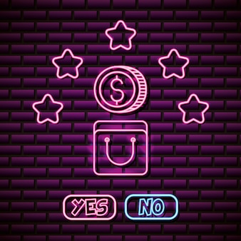 Coin and stars design in neon style, video games related