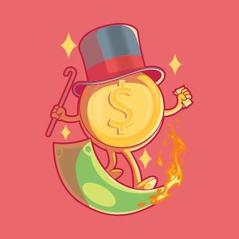 Монета серфинг пылающие деньги концепция дизайна иллюстрации