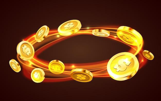 동전 소용돌이. 떨어지는 동전, 떨어지는 돈, 비행 금화, 황금 비.