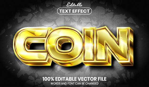 Coin text, font style editable text effect