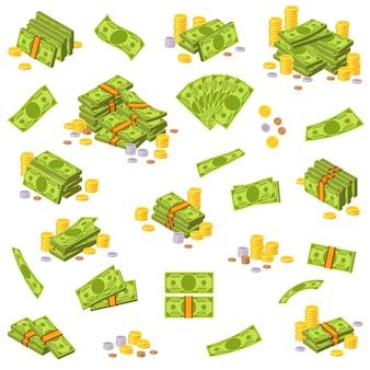Монеты и банкноты различные денежные купюры бумажные банкноты доллара сша