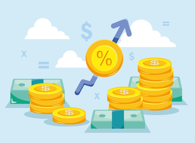 증가 화살표가 있는 동전과 지폐