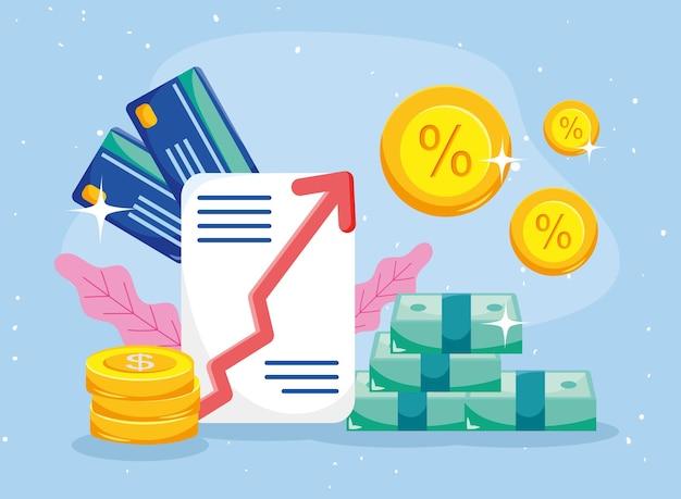 동전 청구서 문서 및 신용 카드
