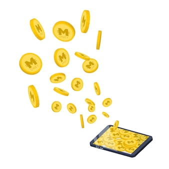 Coins collected on tablets