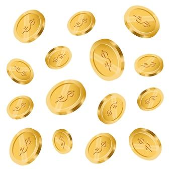 コインが落ちるコインの背景雨。