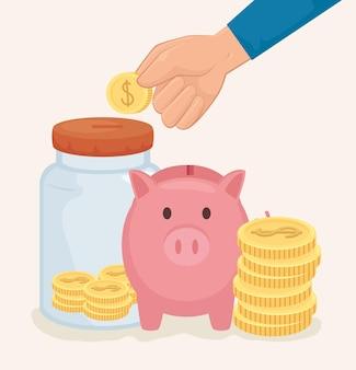 Банку для монет и копилка денег финансового бизнеса, банковского дела, коммерции и рыночной темы векторные иллюстрации