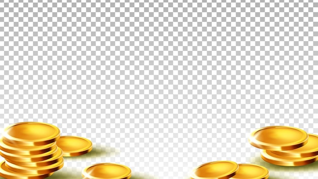 Coins money investment or saving piggy bank vector. metallic coins treasure for pay and buy goods in market. finance wealth fortune, banking pounds template realistic 3d illustration