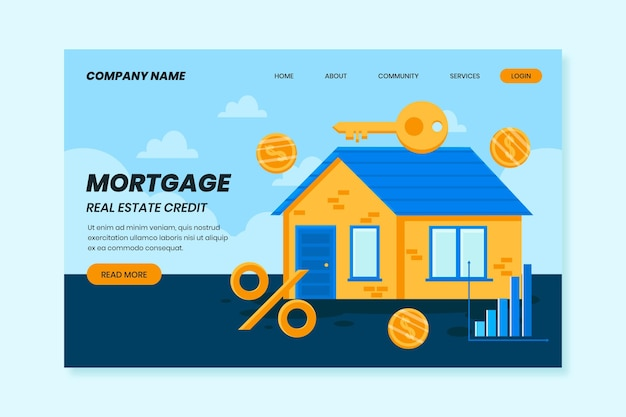 Coins andmortgage landing page concept