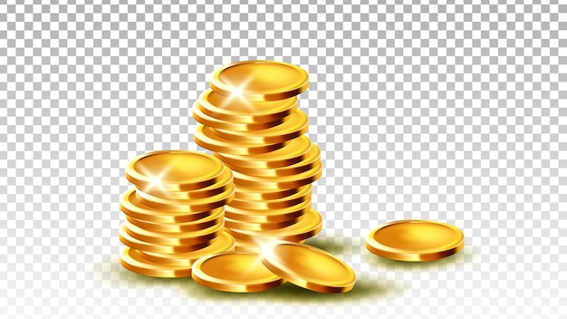 동전 더미 스택 도박 게임 잭팟 벡터입니다. 지불 및 상품 구매를 위해 쌓인 금속 동전 보물 돈. 금융 부 재산, 은행 파운드 템플릿 현실적인 3d 일러스트
