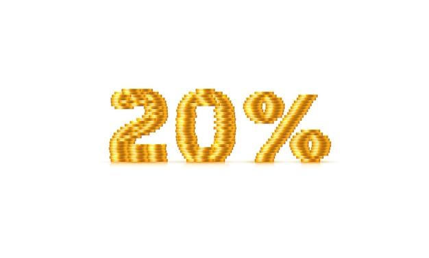 Монеты стек 20 продажа от текстового знака. векторная иллюстрация