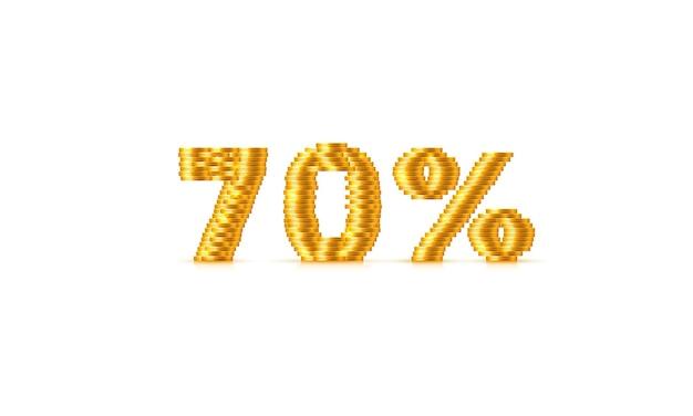 Монеты стек 70 распродажа от текстового знака. векторная иллюстрация