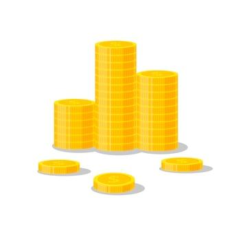 コインスタックイラスト、アイコンフラット金融ヒープ、ドル硬貨の山。白い背景-フラットスタイルで分離された積み重ねられた金の部分に立っている黄金のお金