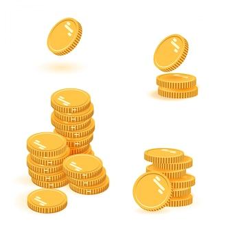 Coins stack set  illustration