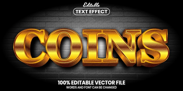 Coins text, font style editable text effect