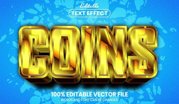 コイン テキスト、フォント スタイル編集可能なテキスト効果