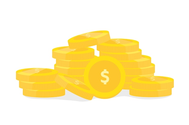 Coins on white background vector design for finance business