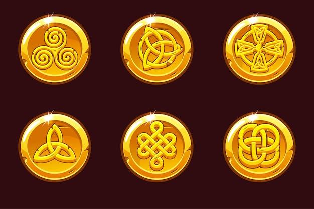 ケルト族のシンボルのコイン。漫画はケルト族のアイコンを設定します。