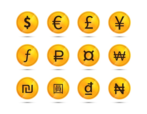 Coins with currency signs