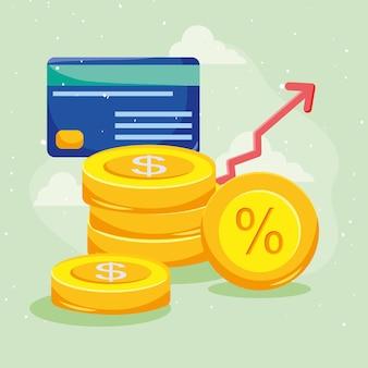 증가 화살표와 신용 카드가 있는 동전