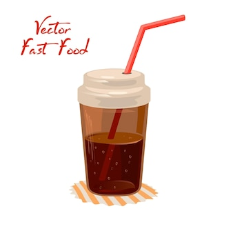 Cola or coke beverage in closed cup with straw on napkin