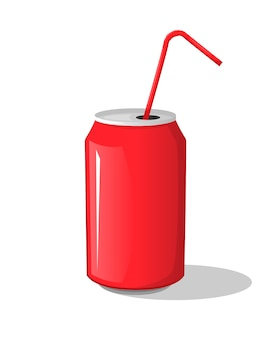 Cola drink in a red metal bank bottle cup with sticks