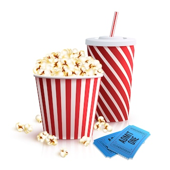 Кола попкорн и билеты